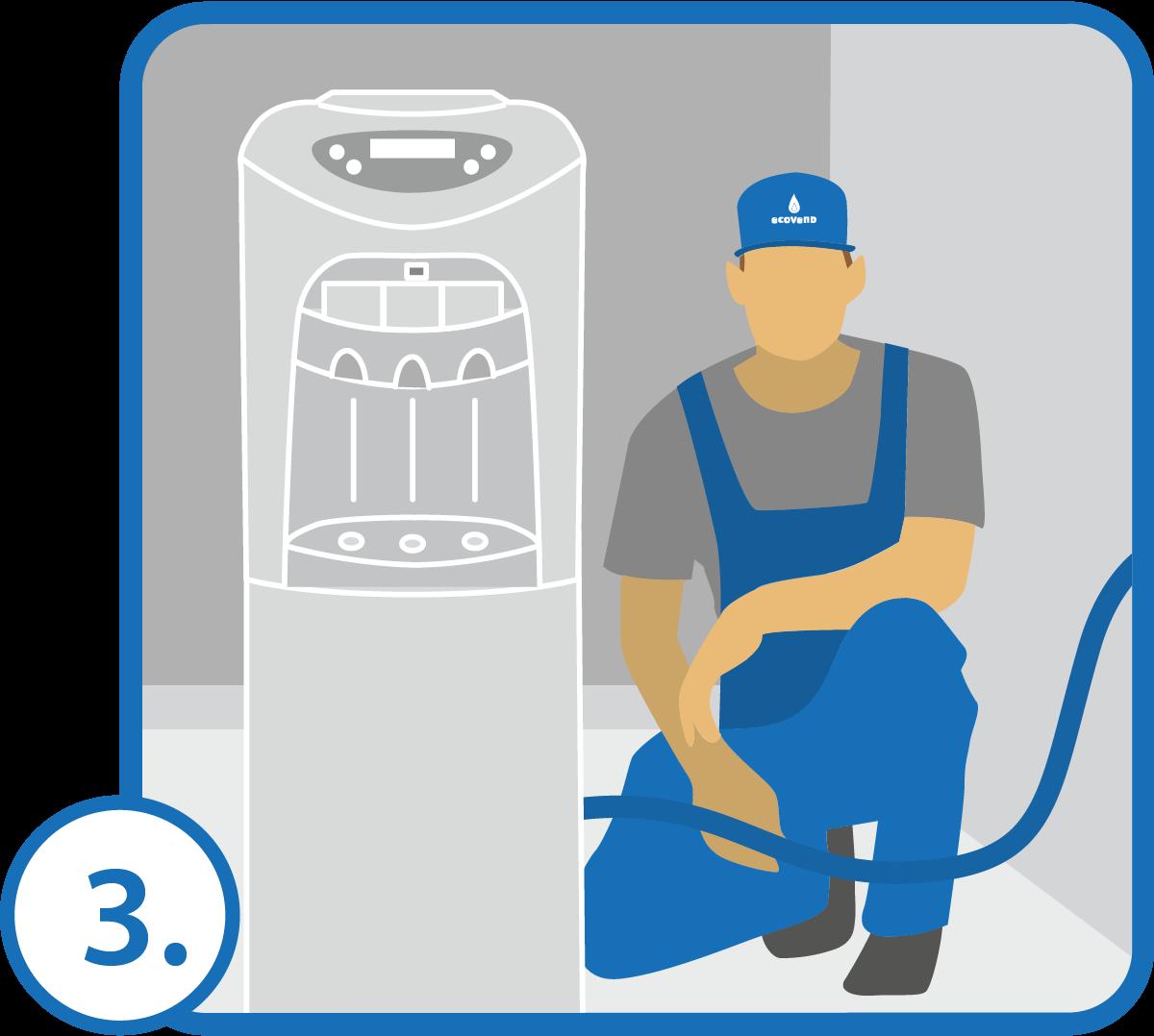 Podłączamy urządzenie. Przed dystrybutorem instalujemy dodatkowy zawór pozwalający odciąć dopływ wody dla potrzeb serwisowych.